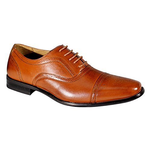 Delli Aldo M-19006 Black Mens Lace Up Wing Tip Oxford Dress Shoes w/ Leather Lining (8) Brown