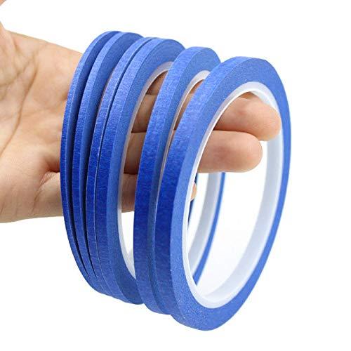 FidgetFidget - Cinta de Papel para Pintar y Estampar uñas de 2 mm a 6 mm, Color Azul, 5Rolls 4mm, 1