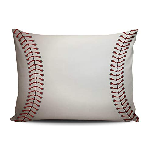 Baseball Player 3 Embroidery - ONGING Decorative Pillowcases Red White Baseball Customizable Cushion Rectangle Queen Size 20x30 inch Throw Pillow Cover Case Hidden Zipper One Side Design Printed