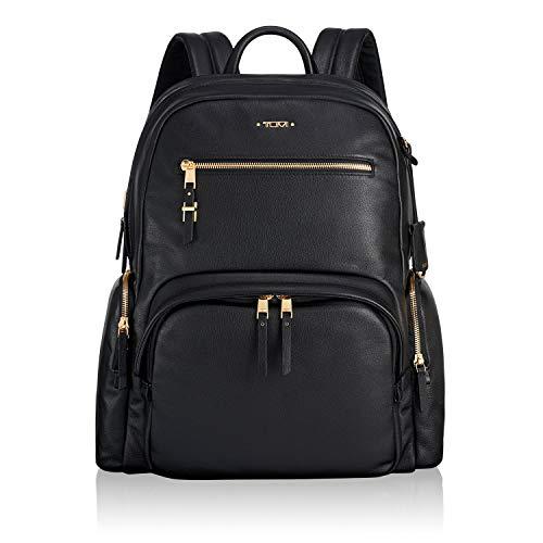 TUMI - Voyageur Carson Leather Laptop Backpack - 15 Inch Computer Bag for Women - Black (Women 15 Laptop Bookbag)