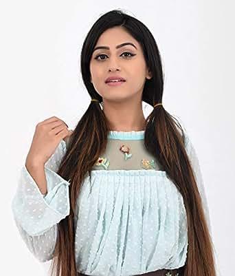 MERASH Light Turqouise Round Neck Asymmetrical Top For Women