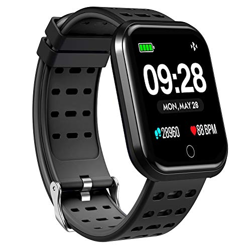 Surpro Smart Watch, Wearable Bluetooth Running GPS Fitness Tracker Watch with Heart Rate Monitor, Waterproof Smart Wristband Pedometer Watch for Kids Woman Man, Black