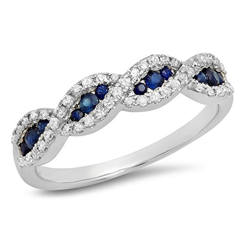 10K-Gold-Round-Blue-Sapphire-White-Diamond-Ladies-Bridal-Stackable-Anniversary-Wedding-Band-Swirl-Ring