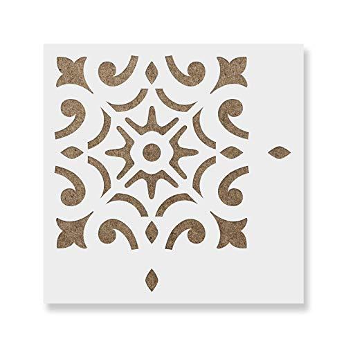 Daphne Tile Stencil - Reusable Floor & Backsplash Mediterranean Tile Stencils for Home Decor, Furniture, and Walls 16
