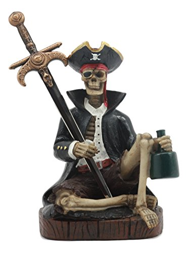 Ebros Rum Mail Pirate Captain Skeleton Letter Opener Statue Set with Dagger Knife Dead Man Tells No Tales Davy Jones Curse Office Desktop Accessory
