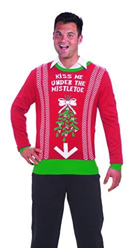 Forum Novelties Men's Under Mistletoe Novelty Christmas Sweater, Red/Green, Large