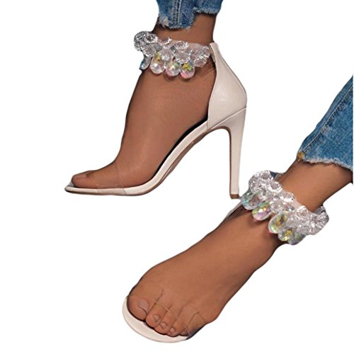 VEMOW High Heels for Women, for Work Utility Footwear Gladiator Closed Toe Platform Sparkly Roman Sandals Party Club Office Court Shoes, Leopard Open Toed Transparent Slippers Beige