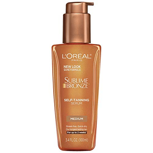 Loreal Sublime Bronze Self Tanning Towelettes - L'Oreal Paris Skincare Sublime Bronze Self-Tanning Serum, Fast-Drying, Streak-Free Self Tanner for Medium Natural Tan, 3.4 fl. oz.