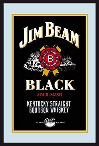 PWMS Jim Beam Bourbon Whiskey Label Logo Black Nostalgie Barspiegel Spiegel Bar Mirror 22 x 32 cm ()
