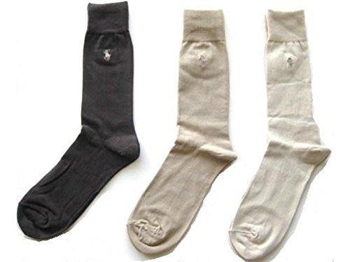 (Polo Ralph Lauren Set of Three Men's Dress Socks- Multi - (Beige, Tan, Brown) (Size 10-13))