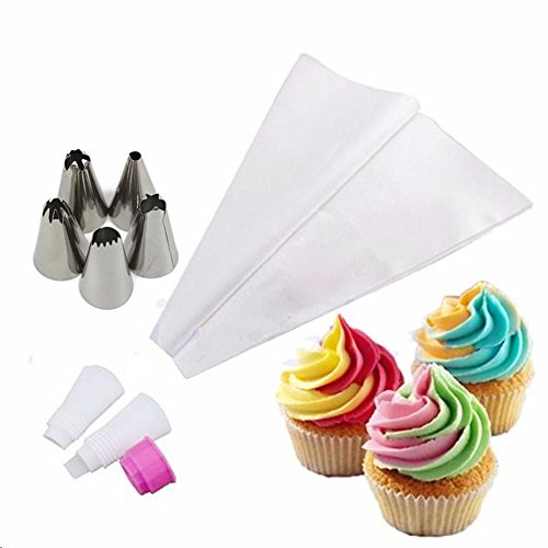 Money coming shop 5Pcs/Set Russian Double Two Color Cake Dessert Decorators Icing Piping Bag Cream Pastry With Nozzles Converter Topper DIY Baking