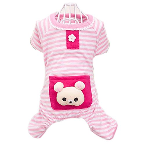 FuzzyGreen Super Dog Pajamas, Dog Pajamas Cute Bear Pattern Comfortable Dogs Pajamas Shirt Stripes Jumpsuit Pet Pink Clothes Size: XS XSmall