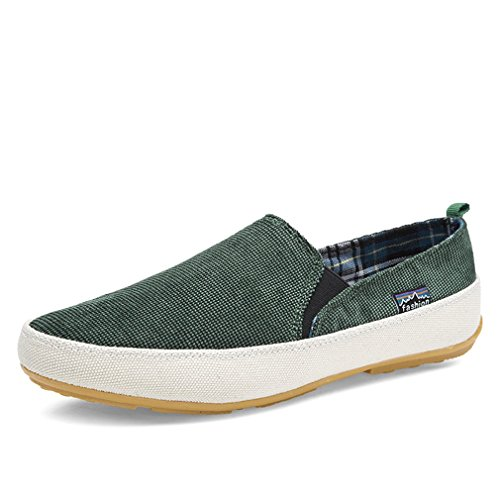 L LOUBIT Men Fashion Sneakers Slip On Casual Walking Shoes Soft Canvas Shoes Green