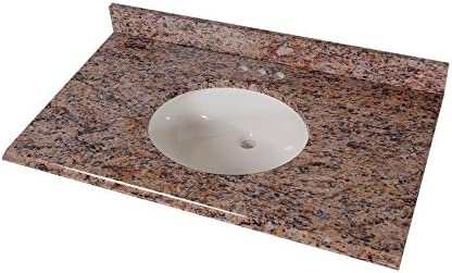 St. Paul 37 in. Stone Effects Vanity Top in Santa Cecilia with White Bowl