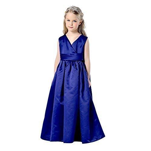 Las ni̱as azul marino satÌ©n de dama flor princesa ComuniÌ_n largo vestido