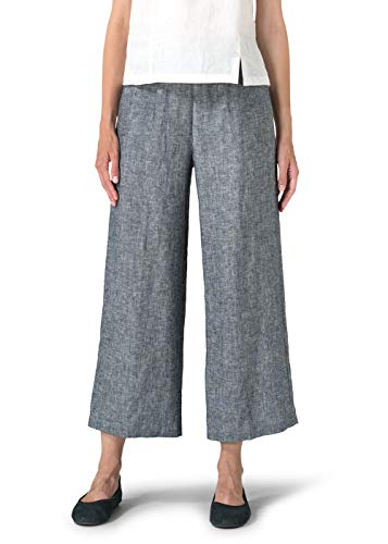(Vivid Linen Relaxed Crop Pants-XXL-Two Tone Black)