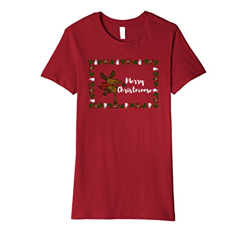 Womens Merry Christmoose Moose T-shirt Small (Northwoods Cranberries)
