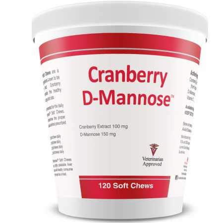 PHS Cranberry D-Mannose Urinary Tract Support Supplement for Cats and Dogs - Cranberry Extract, D-Mannose, Vitamin C - Bladder and Urinary Tract Health - Made in USA - 120 Soft Chews