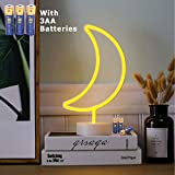 JMEXSUSS Moon Neon Signs LED Neon Light Sign with Holder Base for Home Party Birthday Bedroom Bedside Table Decoration Children Kids Gifts (Moon with Batteries)