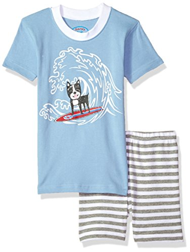 Sara's Prints Big Kids All Cotton Fitted Short Pajama Set, Surf Dog-Shgu, 8