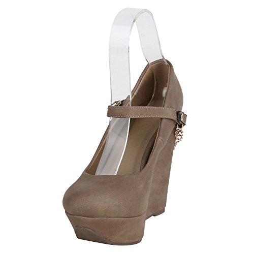 Stiefelparadies Damen Keilpumps Plateau Pumps Keilabsatz Mary Jane Schuhe Party High Heels Wedges Spangenpumps Abiball Flandell Khaki Ketten