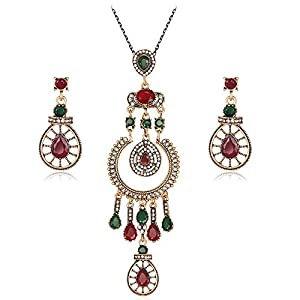 Jewelry Set for Women Necklace Earrings Diamond Elegant Women Jewellery Set Of Crystal Pendant Necklace+Earrings Earrings Necklace Set (Color : Multi-colored, Size : Free size)