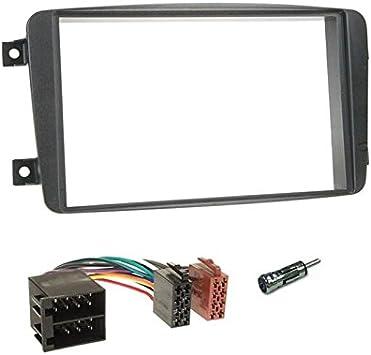 Sound-way Kit Montaje Autoradio, Marco 2 DIN Radio para Coche, Cable Adaptador Conector ISO, Adaptador Antena, compatible con Mercedes Clase C, CLK, ...