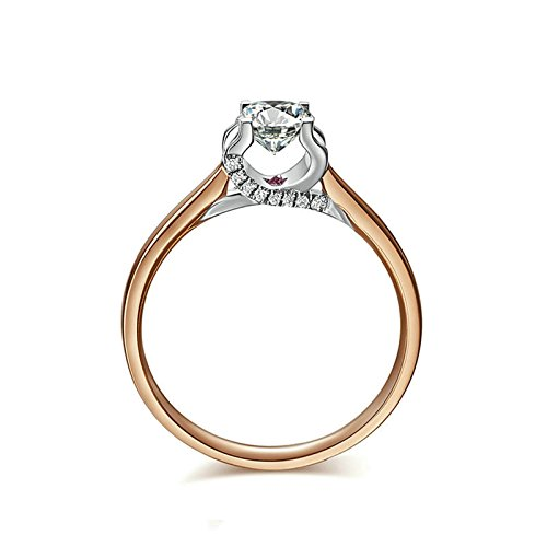 18K Rose Gold(Au750) SI, D-E 1 Carat Diamond Diamond Band Rings For - Day Next Ups Times Delivery