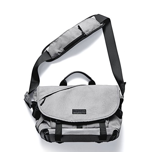 NewBring Messenger Bag for Men and Women Crossbody Waterproof with Water Bottle Pocket Shoulder Bag for 14 and 15 Inch Laptop (Rock Gray) ()