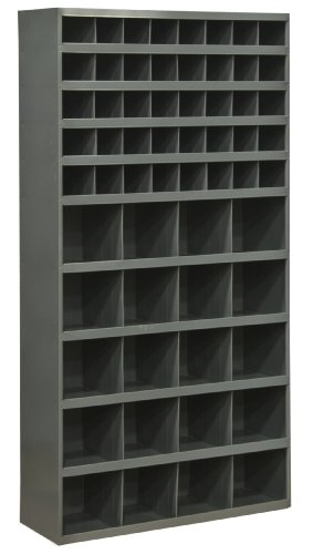 Durham 730-95 Cold Rolled Steel Opening Parts Tall Bin Cabinet with Slope Shelf Design,  12'' Length x 33-3/4'' Width x 64-1/2'' Height,  60 Opening Bins,  Gray Powder Coated Finish by Durham