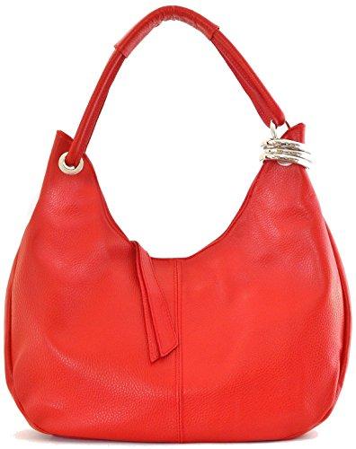 CUIR DESTOCK sac à main porté main et épaule cuir grainé modèle dakota - nouvelle collection 2018 Rouge