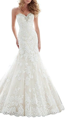 Trumpet/Mermaid Strapless Chapel Train Lace Wedding Dress (White) - 4
