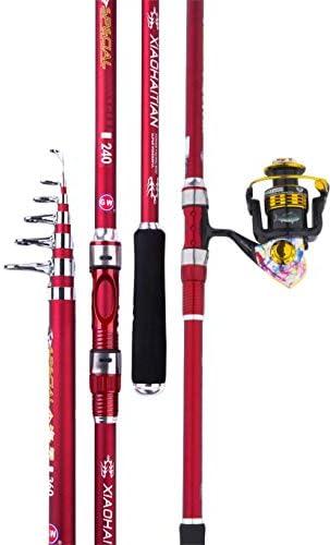 釣り竿YUSHRO 金属の回転の巻き枠、強力で強い超軽量の赤いアンカーポールが付いているカーボン望遠鏡の釣り竿 (色 : 11 axes, サイズ : 360cm/142inches)