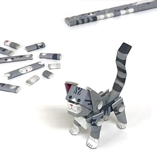 パイプロイド(PIPEROID) アニマルズ 猫 シリーズ サバトラ - 小学生 から 大人まで 楽しめる 紙工作 クラフトキット - 折り紙 好きの 男の子や 女の子にも