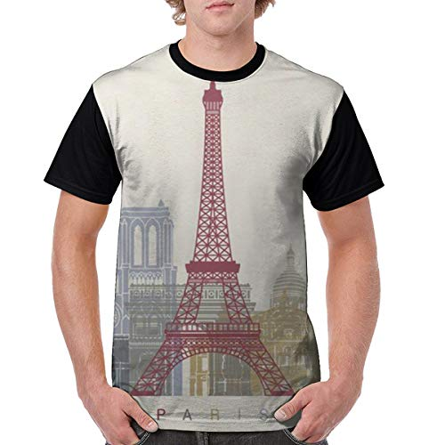 Men's Plakat Paris Design Poster Novelty Casual Tshirt 3D Printed Crewneck Graphic Tees Unisex Black -