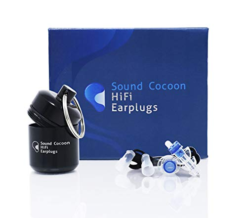 Sound Cocoon HiFi Ear Plugs - High Fidelity Hearing Protection Earplugs, Noise Reduction for Concerts, Musicians, Motorcycles, Shooters & More - Reusable with Carrying Case & Cord