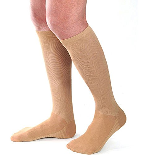 mk. park - Men's Women's Anti-Fatigue Knee High Stockings Compression Support Socks (Beige)