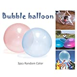3PCS Toy Balls Inflatable Bubble Balloon Soft, Super Strong, Tear Resistant Beach Ball Children Outdoor Play Toys Kids Inflatable Ball for Kids Adult