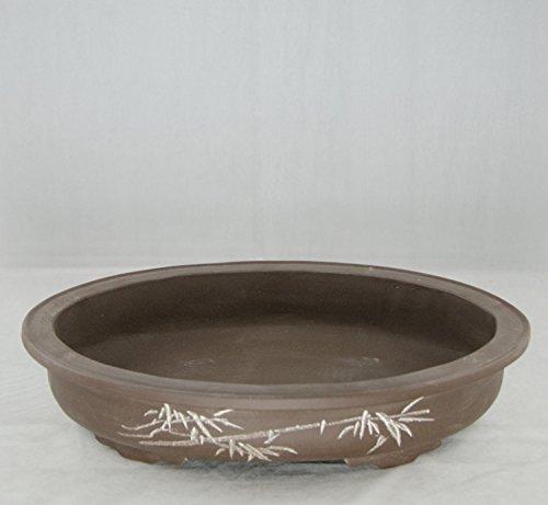 Etched Oval Yixing Zisha Bonsai Pot 10.5