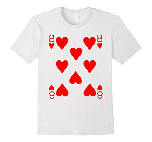 Men's Eight of Hearts Playing Card Poker Card Costume Tee Shirt Medium White (Playing Card Costumes)