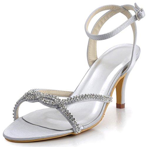 Elegantpark EP2056 Women Open Toe High Heel Rhinestones Ankle Straps Satin Prom Evening Sandals Silver US 6