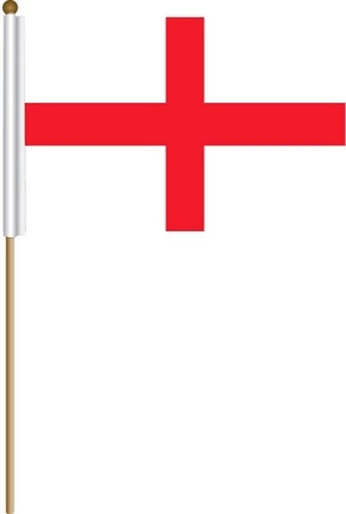 "George/'s Cross Stick Flag wood staff 12x18 12/""x18/"" England St"