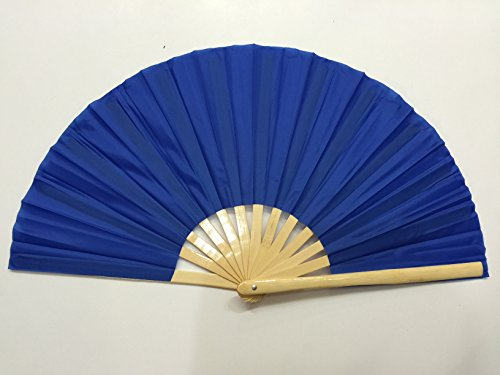 Plain Blue Bamboo Kung Fu Tai Chi Training Fan USA Seller