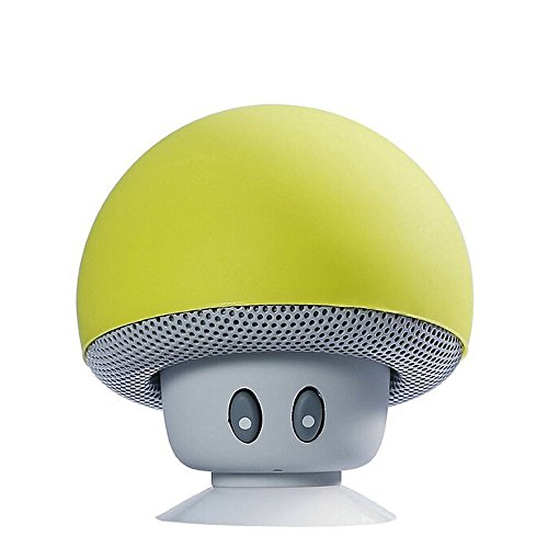 TinyFin Mini Bluetooth Wireless Portable Mushroom Speaker with Sucker Function Yellow for iPhone Samsung and More