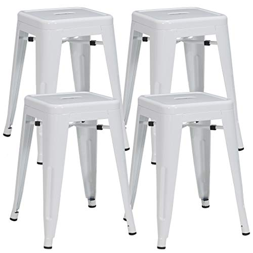 Duhome 4 pcs 18″ Metal Chairs Tolix Style Dining Stools Indoor Outdoor Restaurant Cafe Industrial Design (White)