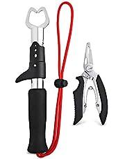 NusGear Aluminio Alicates de Pesca Cortadores de Trenzas Dividir Anillo Alicates Removedor de Gancho Titular de Pescado con Cordón