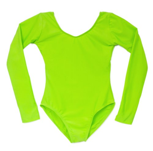 - American Dance Theater Child Scoop Neck Long Sleeve Leotard Bright Lime Green (4-6 Child)