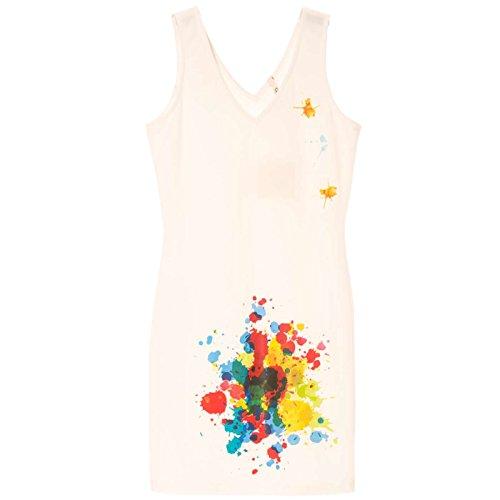 Miss Wear Line - Robe d'été blanche avec motif tache de peinture