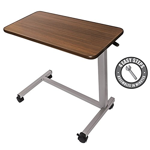 Vaunn Medical Adjustable Overbed Bedside Table with Wheels (Hospital and Home Use) - Overbed Light