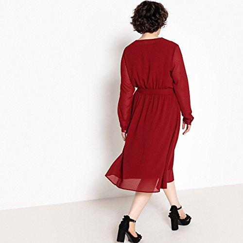 Bindegurtel Frau Kleid Der Taille La Gerades Langarmeliges In Castaluna Redoute Mit Dunkelrot xOnTXn0